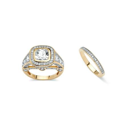 18k Bridal Set Ring - 2 Piece 4.67 TCW Cubic Zirconia Bridal Ring Set 18k Gold-Plated