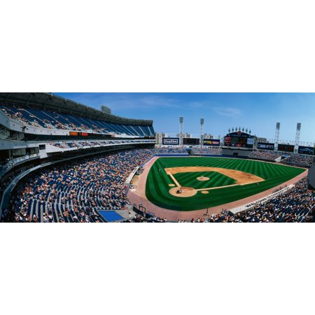 This is the new Comiskey Park Stadium Playing are the White Sox vs the Texas Rangers The attendance at this game was 26141 Canvas Art - Panoramic Images (36 x 12) ()