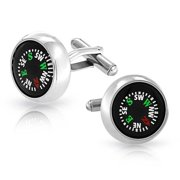 Round Black Working Compass Shirt Cufflinks for Men Symbol of Right Direction In Life Hinge Back Graduation Gift Stainless Steel
