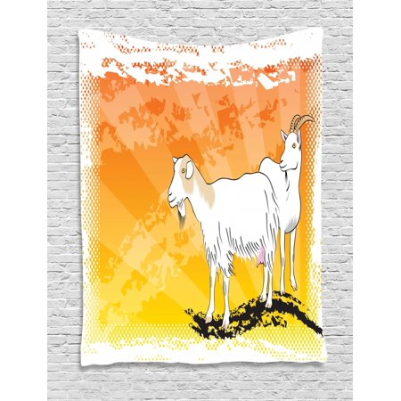 Goat Tapestry, Horned Animal Ranch Theme Two Mammals Standing on Vibrant Grungy Background, Wall Hanging for Bedroom Living Room Dorm Decor, 40W X 60L Inches, Orange Yellow White, by Ambesonne
