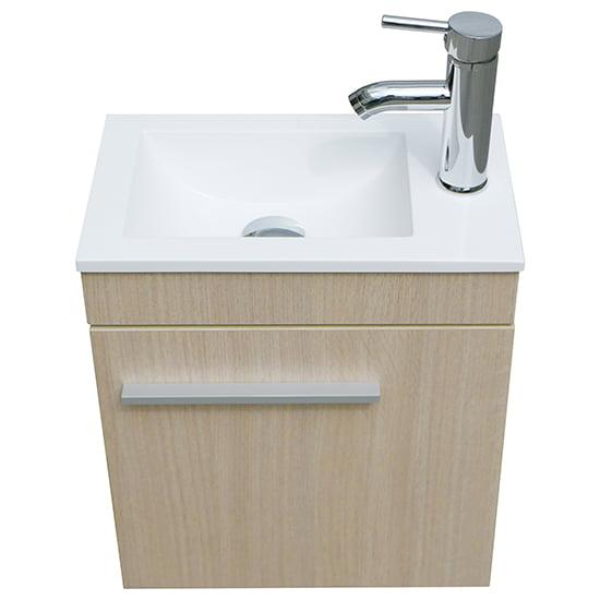 Single Vessel Sink with Faucet Wall Mount Wood Cabinet Bathroom Vanity Basin Set