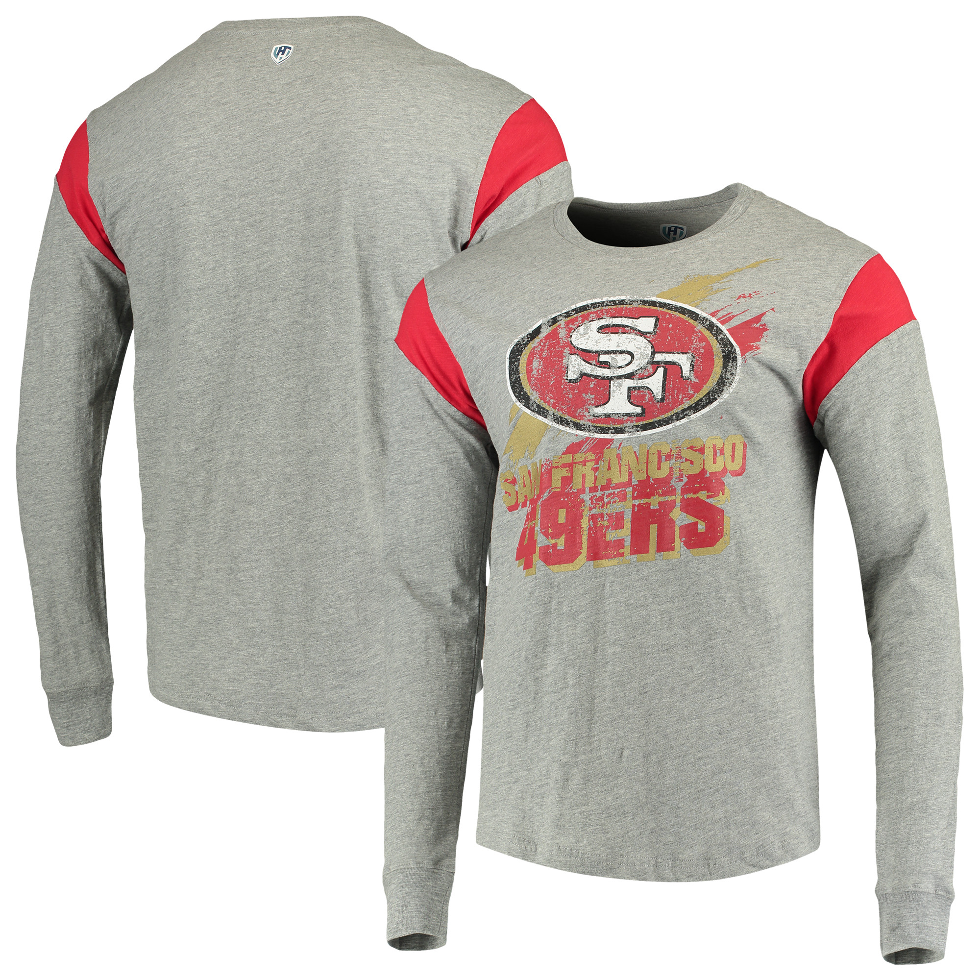 San Francisco 49ers G-III Sports by Carl Banks Wide Receiver Long Sleeve T-Shirt - Heathered Gray/Scarlet