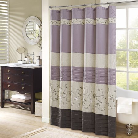 """Serene Embroidered Shower Curtain Purple 72x72"""", Add an elegant addition to your bathroom with the Madison Park Serene shower curtain. Its rich purple and.., By Madison Park"""