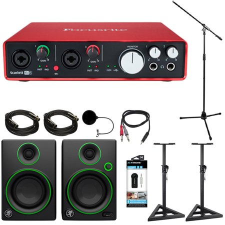 (Focusrite Scarlett 6i6 USB Audio Interface (2nd Gen) + Mackie CR Series CR3 Multimedia Monitors (Pair) + 2x Deco Mount PA Speaker Stand + 2x Monoprice XLR 10' Male to Female Cable + More)