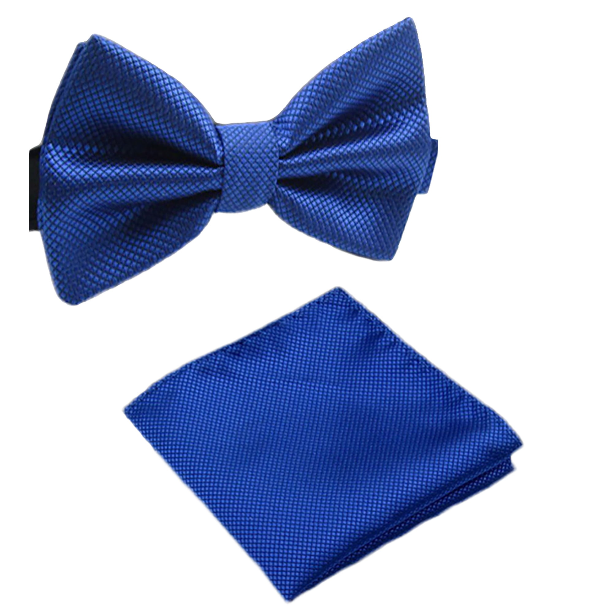 Mens Matching Blue Bow Tie and Handkerchief Gift Set