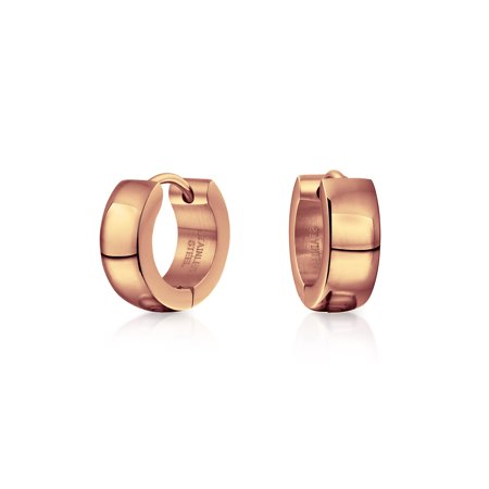 - Simple Basic Shiny Huggie Hoop Kpop Earrings For Men For Women In Silver Rose Gold Tone Plated Stainless Steel