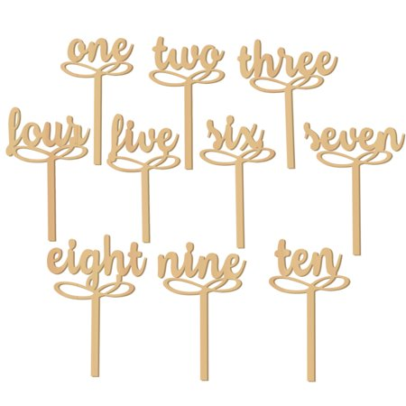 10pcs wooden number One-Ten Freestanding Wooden Table Numbers Sticks Decor Craft Wedding Party