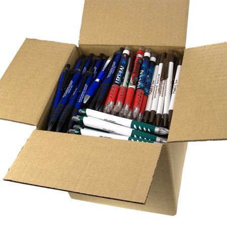Bulk Office Supplies ((5lb Box Approx. 200-250 pens) Assorted Misprint Retractable Ballpoint Pens Office Ink Pen Supplies Big Bulk Lot, 5 pounds of pens, or approximately.., By DG)