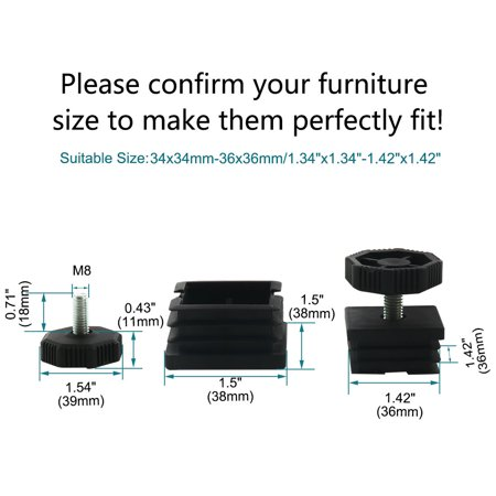 Leveling Feet 38 x 38mm Square Tube Inserts Kit Furniture Glide Adjustable Leveler for Table Sofa Chair Leg 2 Sets - image 5 de 7
