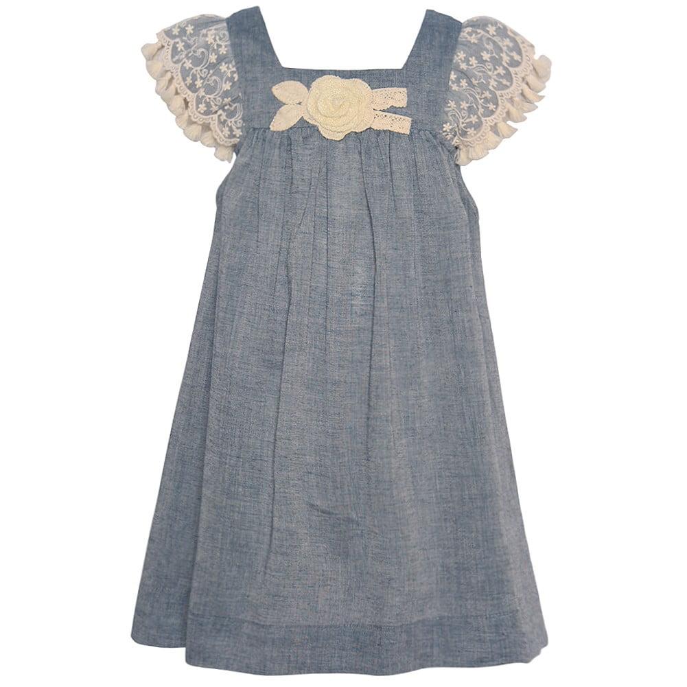 Bonnie Jean Little Girls Blue Ivory Lace Rosette Flutter ...