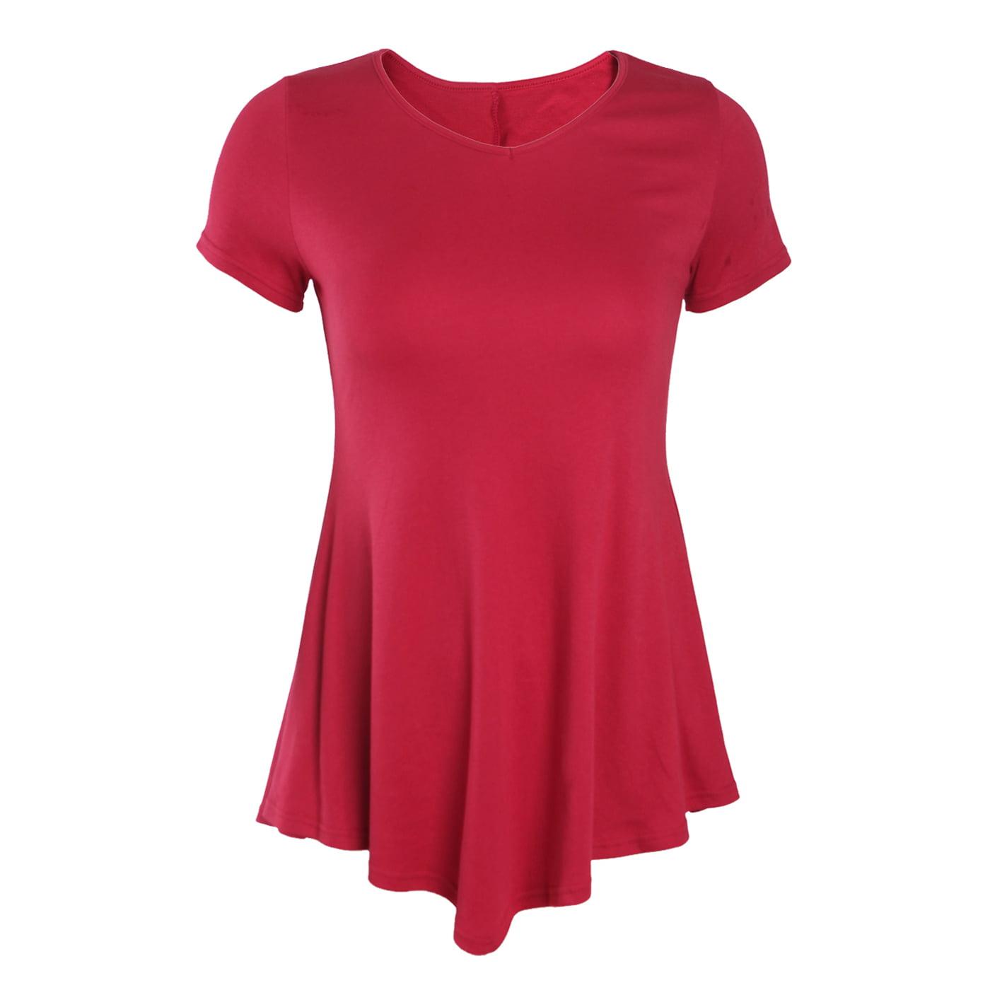 Hde Womens Short Sleeve Flowy Handkerchief Hem Tunic Top Flare