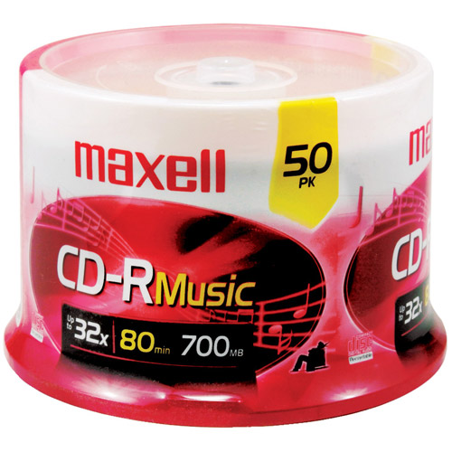 Maxell 625156 CDR80MU50PK Music CD-RWs, 50-Count Spindle