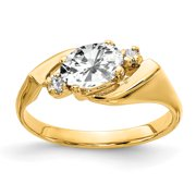 Primal Gold 14 Karat Yellow Gold 7x5mm Oval Cubic Zirconia and Diamond Ring