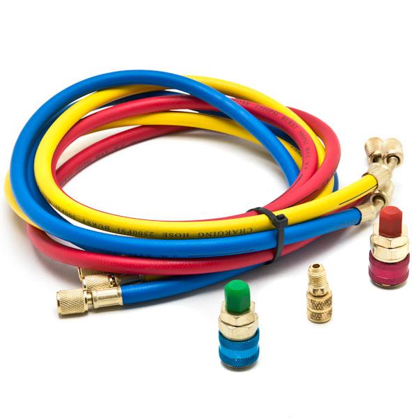 HVAC R12 R22 R502 A//C Diagnostic Manifold Gauge Kit w// 3 Color 60 Charging Hose