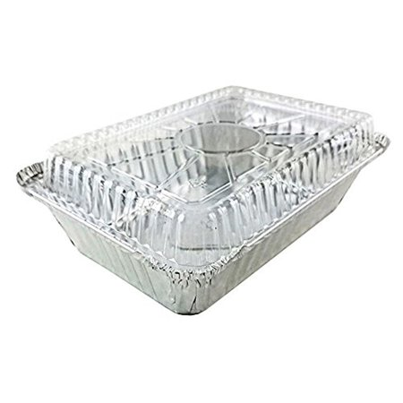 (Pack of 25 Sets) 2 1/4 lb. Oblong Deep Aluminum Foil Take-Out Pan with Clear Plastic Dome Disposable Containers 8.44