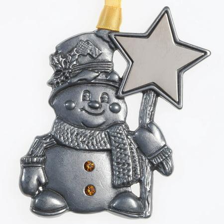 Pewter Birthstone Snowman Ornament (Pewter Fox)