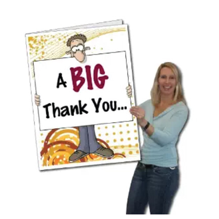 2'x3' Giant Thank You Card-Big Nose, W/Envelope