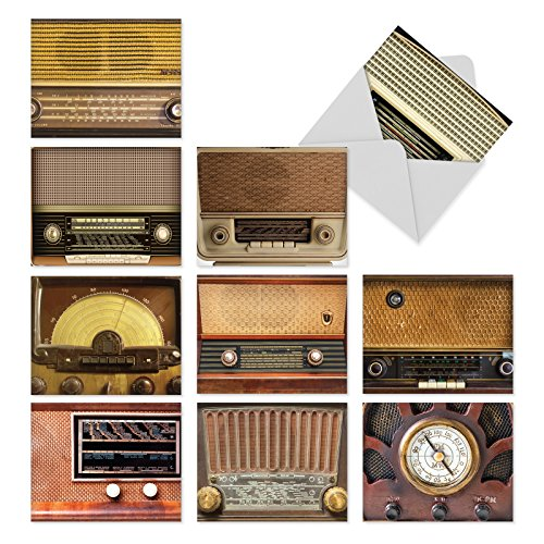 'M2086 RADIO DAYS' 10 Assorted Thank You Note Cards Showcasing Mid-Twentieth Century Vintage Radios with Envelopes by The Best Card Company