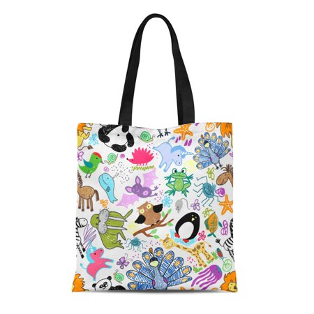 ASHLEIGH Canvas Bag Resuable Tote Grocery Shopping Bags Childrens Drawings with Whale and Unicorn Snail and Mouse Hedgehog and O Tote Bag