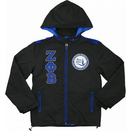 Big Boy Zeta Phi Beta Divine 9 S6 Hooded Ladies Windbreaker Jacket [Black - XL]