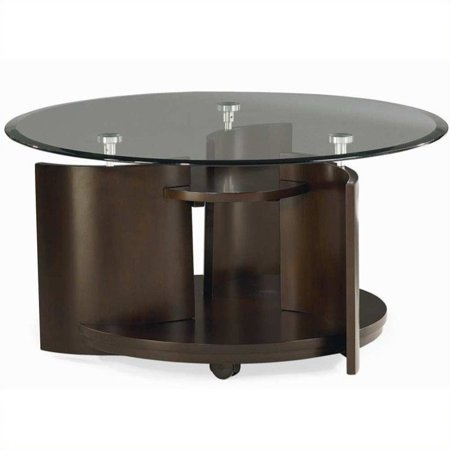 hammary apex round cocktail table in dark cherry. Black Bedroom Furniture Sets. Home Design Ideas