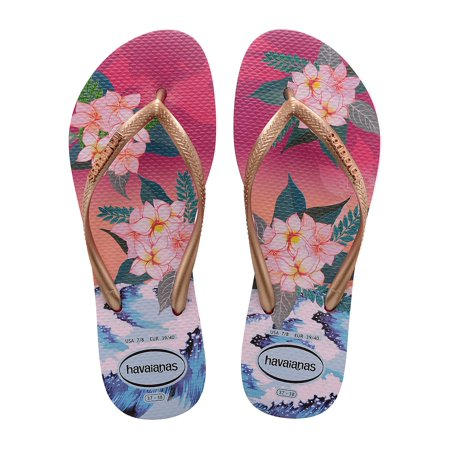 Slim Tropical Sunset Flip Flops