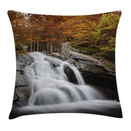Waterfall Decor Throw Pillow Cushion Cover, Water Falls to The Lake through Rocks Surrounded by Fall Trees, Decorative Square Accent Pillow Case, 18 X 18 Inches, White Green and Orange, by Ambesonne 18 Inch See Through Log
