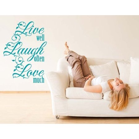 Live Well, Laugh Often, Love Much Wall Decal - wall decal, sticker, mural vinyl art home decor, quotes and sayings - 4030 - White, 14in x 20in - Live Laugh Love Wall Decals