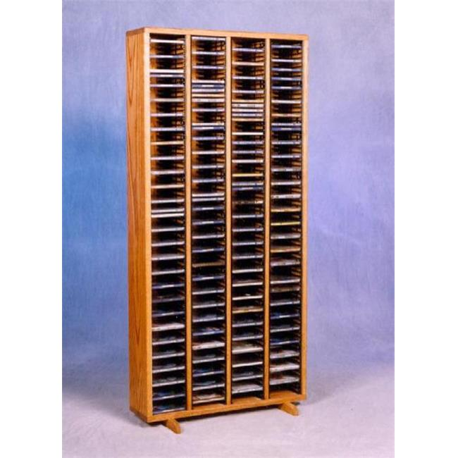 Wood Shed 409-4 Solid Oak Tower for CDs - Individual Locking Slots