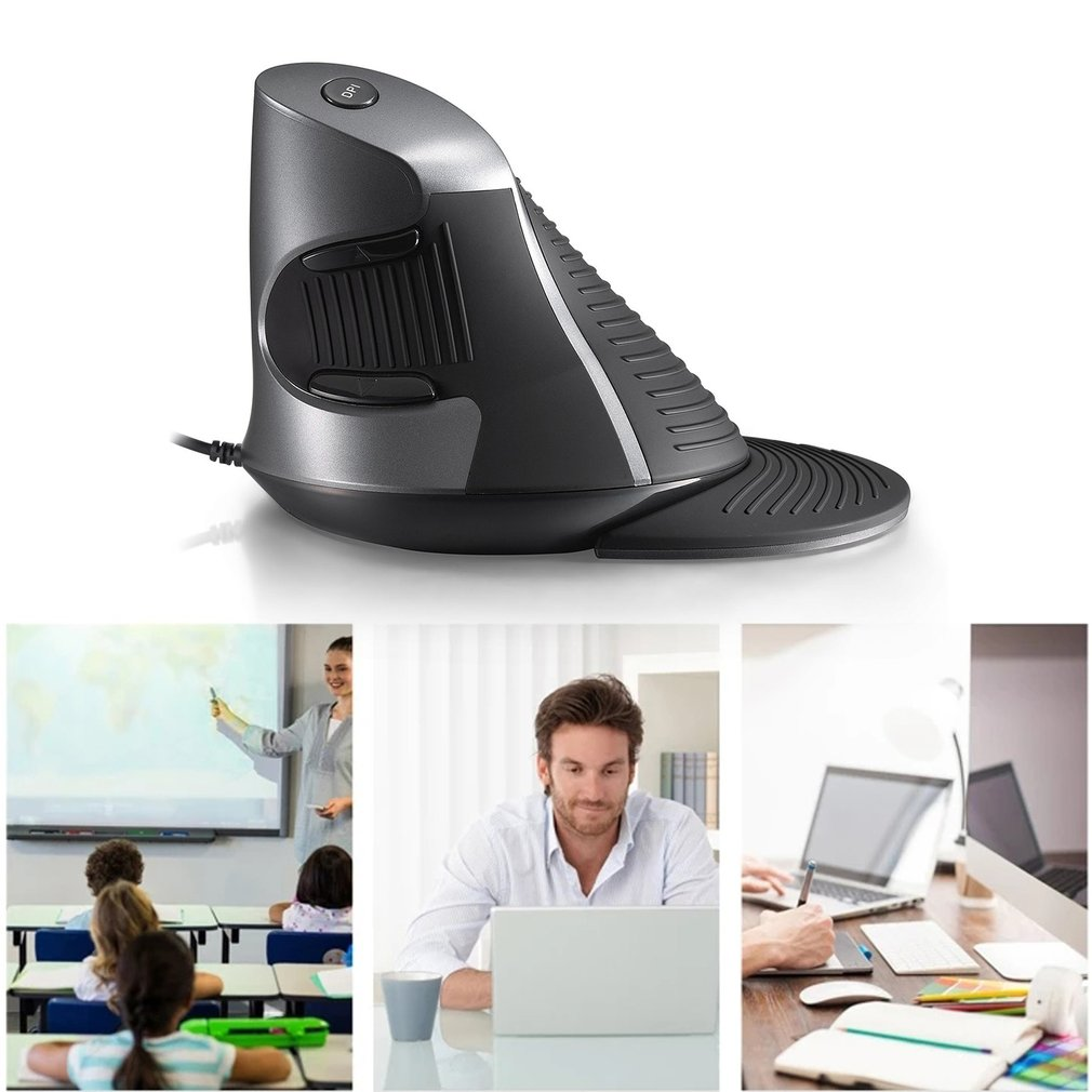 Delux M618 Vertical Mouse With Gray And Black Color Ergonomic USB Mouse by LESHP