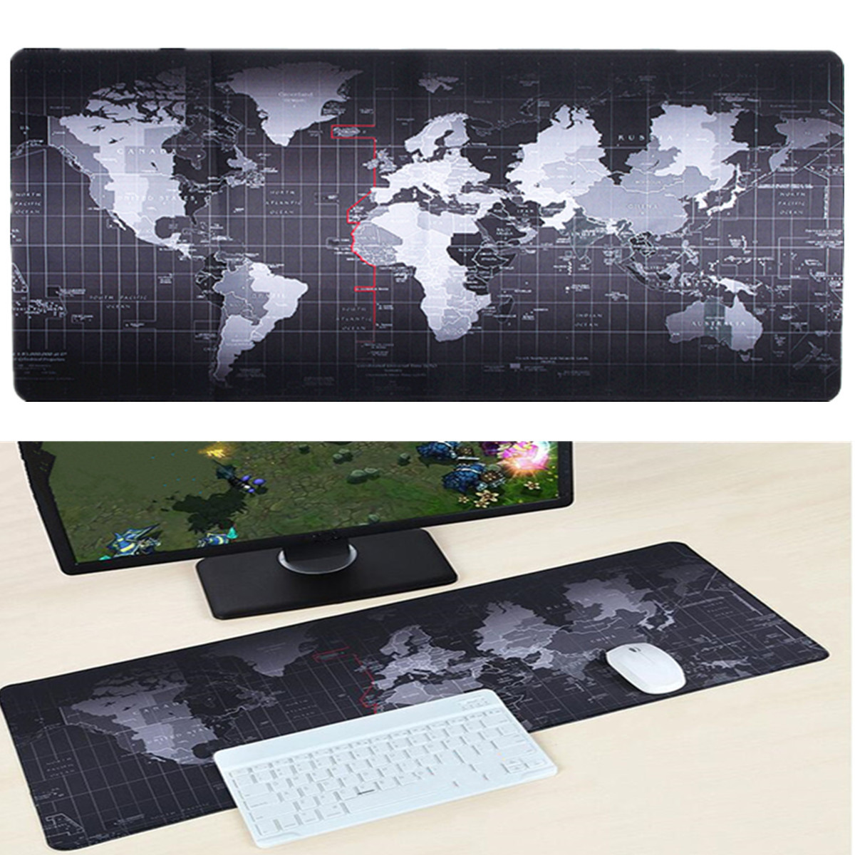 70 x 30cm mouse mat Non-Slip World Map Gaming Mousepad Sd Game Laptop  Correct World Map on