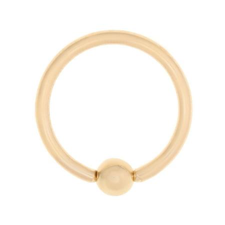 Eyebrow Captive Bead Ring (Lavari - 14K Yellow Gold Captive Bead Hoop Lip Eyebrow Belly Nipple Ring 16G)