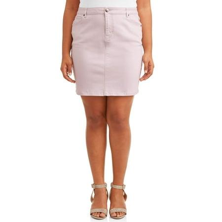 A3 Denim Women's Plus Size Stretch Colored Denim Mini Skirt