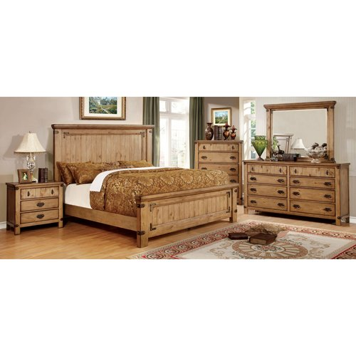Furniture of America Moira I Country Style 4-Piece Weathered Elm Bedroom Set, Multiple Sizes by Furniture of America