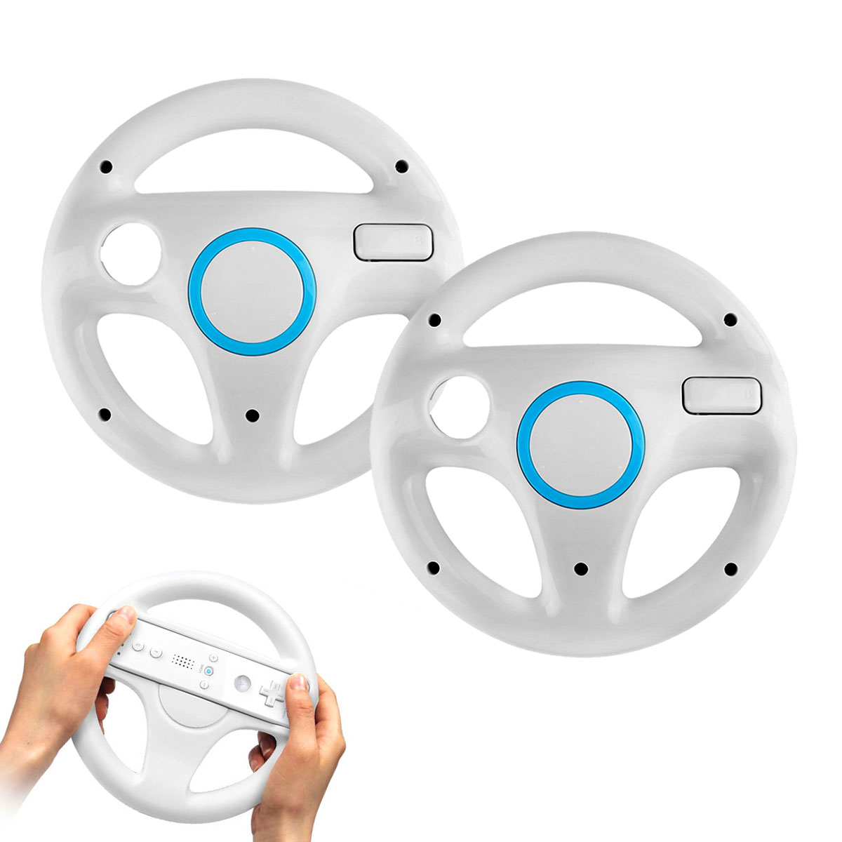 EEEKit 2 Pack Mario Kart Racing Steering Wheel Handle for Nintendo Wii Game Remote