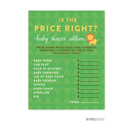 Is The Price Right?  Jungle Safari Baby Shower Games, 20-Pack - The Price Is Right Baby Shower Game