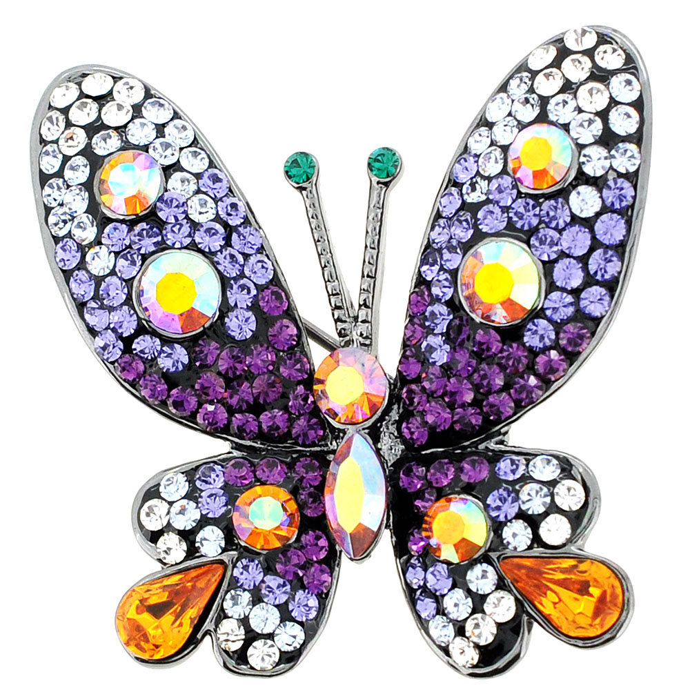 Purple Butterfly Crystal Pin Brooches by