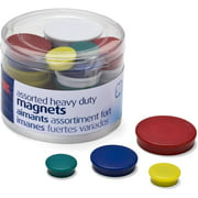 Officemate OIC Assorted Heavy-Duty Magnets, Circles, Assorted Sizes and Colors, 30/Tub (92501)