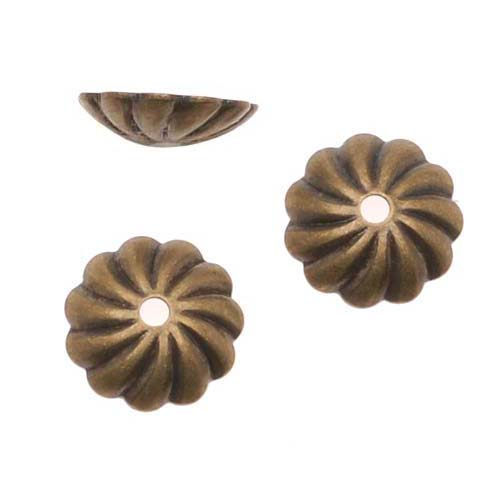Antiqued Brass Corrugated Fluted Bead Caps 7mm (50)
