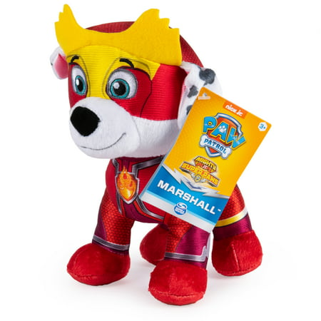 PAW Patrol, 8-Inch Mighty Pups Super PAWs Marshall Plush, for Kids Aged 3 and Up
