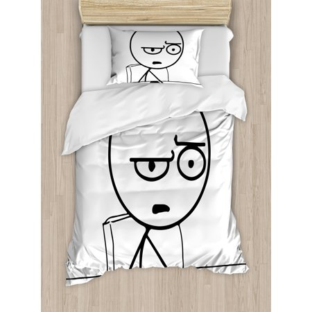 Humor Duvet Cover Set, So What Guy Meme Face Best Avatar WTF Icon Hipster Mascot Snobby Sign Picture, Decorative Bedding Set with Pillow Shams, Black and White, by Ambesonne ()