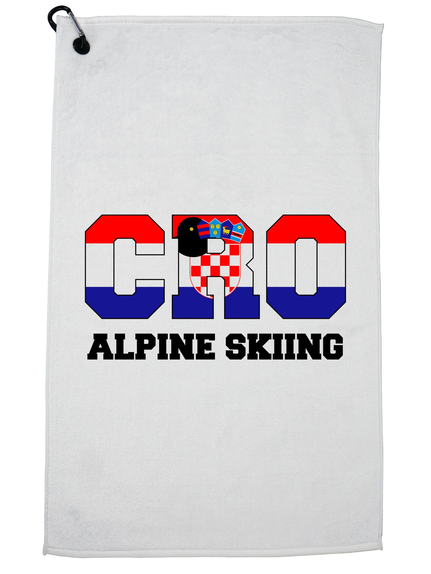 Croatian Alpine Skiing Winter Olympic -CRO Flag Golf Towel with Carabiner Clip by Hollywood Thread