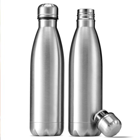 ShopoKus Stainless Steel Water Bottle - Set of 2 (17-Oz.) Double-Wall Vacuum Insulated Water Bottle, Keeps Drinks Hot for 12 Hours, Cold for 24 Hours BPA FREE Rust Proof, Sweat Proof, Leak