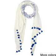 Saachi Women's Stripes and Tassels Scarf (India) Ivory Blue