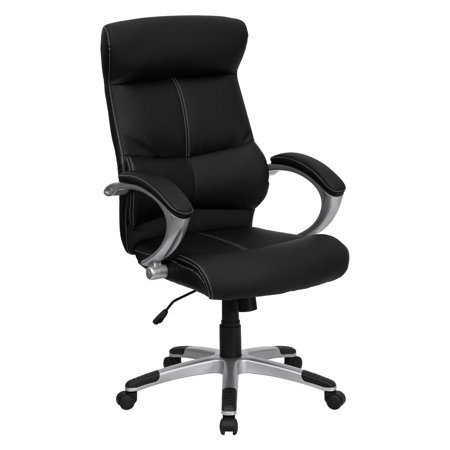 Leather Executive High Back Office Chair With White Sching Black