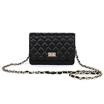Gemate Gemate Womens Genuine Leather Quilted Chain Shoulder Bag
