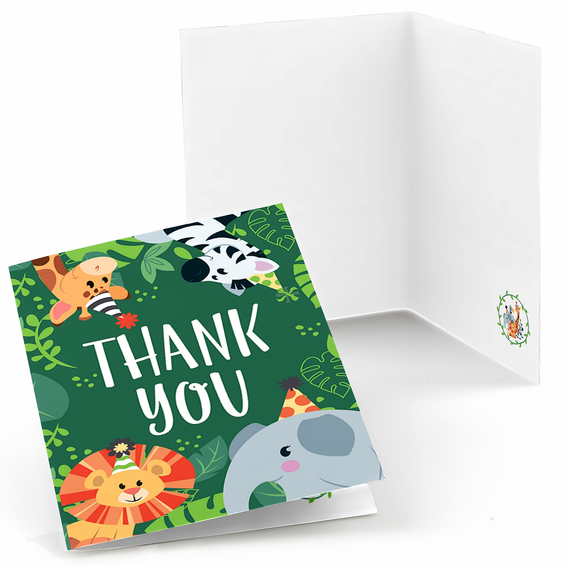 Jungle Party Animals - Safari Zoo Animal Birthday Party or Baby Shower Thank You Cards (8 count)