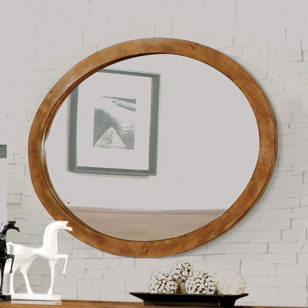 Lennart Wall Mounted Oval Mirror In Oak Finish by Benzara