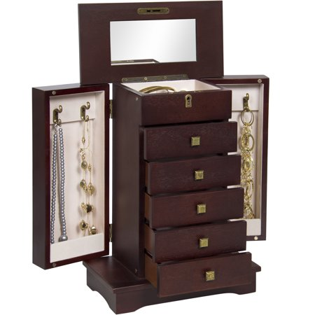Best Choice Products Handcrafted Wooden Jewelry Box Organizer Wood Armoire (Heartwood Jewelry Boxes)