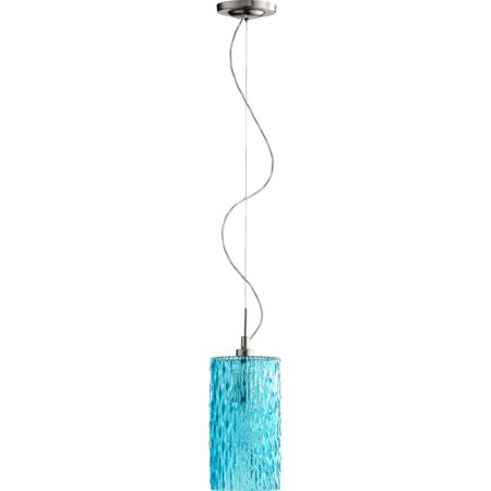 Pendants 1 Light With Satin Nickel with Aqua Finish Medium Base Bulbs 5 inch 100 Watts